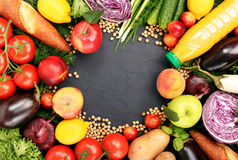 Frame of colorful fruits and vegetables background Royalty Free Stock Photo