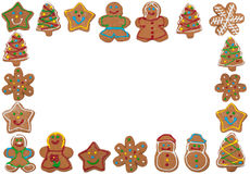 Frame of colorful gingerbread cookies on white Stock Photo
