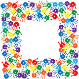 Frame of colorful hand prints. Frame of a colorful hand prints Royalty Free Stock Images