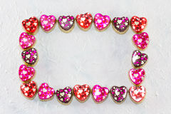 Frame colorful heart patterns Stock Photos
