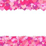 Frame of colorful hearts isolated on white background. Confetti vector illustration