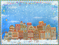 Frame with  colorful houses. Christmas and New Year holidays  Stock Photography