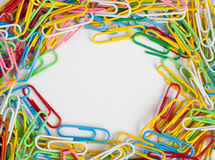 Frame of colorful paper clips Stock Images