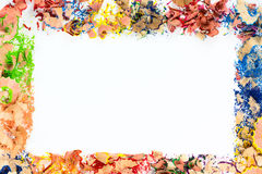 Frame from colorful pencil crayon shavings.  Royalty Free Stock Images