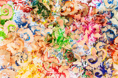 Frame from colorful pencil crayon shavings Royalty Free Stock Photo