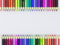 Frame by Colorful Pencils Royalty Free Stock Photos