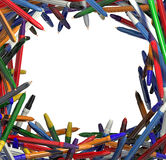 Frame of colorful pens. Stock Image