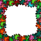 Frame from colorful puzzle elements. There is a frame from colorful puzzle elements Royalty Free Stock Photography