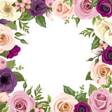 Frame with colorful roses and lisianthus flowers. Vector illustration. Royalty Free Stock Photos