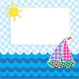 Frame with colorful sailboat Stock Images