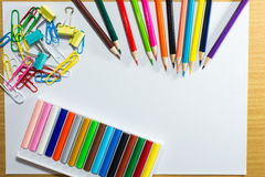 Frame of colorful school supplies and equipment education art.  Royalty Free Stock Photography