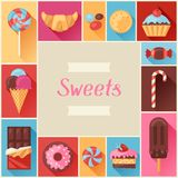 Frame with colorful various candy, sweets and Royalty Free Stock Images