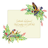 Frame of colorful watercolor  goldfinch and some leaves, berries Stock Images