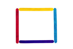 Frame colorful wood ice-cream stick. On white background Royalty Free Stock Photography