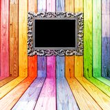 Frame in colorful wooden room Royalty Free Stock Image