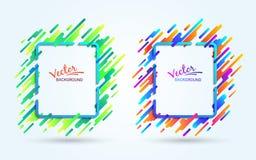 Frame colorido no fundo branco Movimento dinâmico de formas geométricas Inclinação vibrante Imagem abstrata futurista ilustração stock