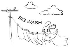 Frame-coloring page WASH - Rabbit hands up the laundry stock images