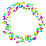 Frame with colourful sparlking confetti. Bright abstract decorative ring Royalty Free Stock Photos