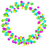 Frame with colourful sparlking confetti. Bright abstract decorative ring Royalty Free Stock Images