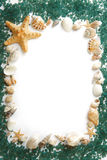 Frame composed of sea shells and sea salt Royalty Free Stock Photos