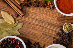 Frame composition of spices on wood Stock Image