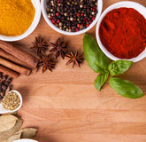 Frame composition of spices on wood Royalty Free Stock Photos