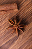 Frame composition of spices on wood Royalty Free Stock Images