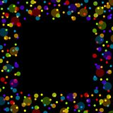 Frame of confetti. Party themed frame composed of colorful confetti dots stock illustration