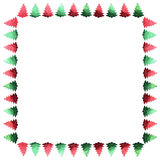 Frame of confetti. Green and red frame. Christmas tree. Border. Scenery. Stock Photography