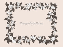 Frame for congratulation with roses royalty free illustration