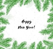 Frame with coniferous branches and text with Happy New Year!. Winter holiday greeting card. Vector Illustration Royalty Free Stock Photos