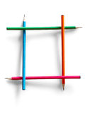 Frame constructed from colored pencils Royalty Free Stock Photos