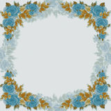 Frame on the contour - flowers and leaves. Stock Photos