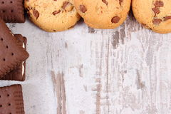Frame of cookies and biscuit, copy space for text Stock Photo