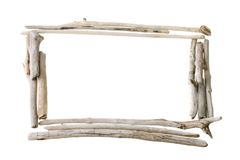 Bleached stick frame. Frame with copy space made from sun bleached drift wood isolated on white background Stock Photography