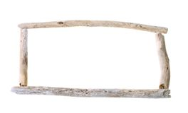 Drift wood panorama frame. Frame with copy space made from sun bleached drift wood isolated on white background Stock Photo