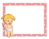 Frame cor-de-rosa com fêmea da criança Fotografia de Stock Royalty Free