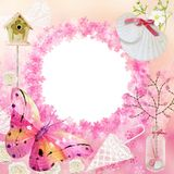 Frame cor-de-rosa da foto Bandeira para a festa do bebê ilustração do vetor
