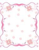 Frame cor-de-rosa do rolo com flores Fotografia de Stock