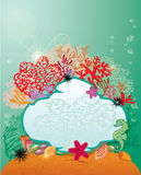 Frame and Coral Reef and Marine life - background. Royalty Free Stock Photography