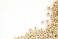 Frame Corn Flakes in the form Rings Isolated Top View. On White Background royalty free stock photos
