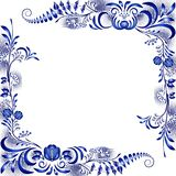 Frame with corner floral blue patterns in the ethnic style of painting on porcelain. Vector illustration stock illustration
