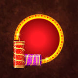 Frame with Crackers for Diwali Celebration. Royalty Free Stock Photography