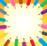 Frame with crayons 1 Royalty Free Stock Photography