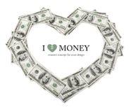 Frame creativo do coração feito do dinheiro dos dólares Foto de Stock