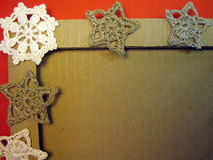 Frame and crochet linen Christmas decoration Royalty Free Stock Photography