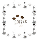 Frame with cup of coffee and inscription Coffee with grains Royalty Free Stock Images