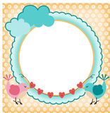 Frame with cute birds in love Stock Photography