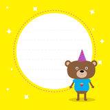 Frame with cute cartoon bear with hat. Happy Birthday party card Royalty Free Stock Images