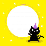 Frame with cute cartoon black cat with hat. Happy Birthday party Stock Photography